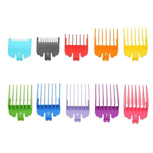 Anself 10 piezas Guía de corte Peine de Peluquería Kit de guía de peines para podadoras de cabello Accesorios de guardas de recortador de cabello de plástico multicolor