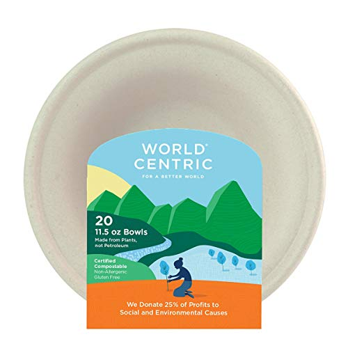 World Centric Compostable 11-1/2-Ounce Bagasse Bowl, 20-Piece