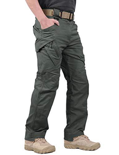 LABEYZON Men's Outdoor Work Military Tactical Pants Lightweight Rip-Stop Casual Cargo Pants Men (Greyish Green, 32W x 32L)