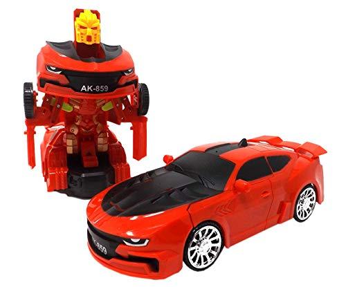 Transfom Supercar,Amerikanischer Sportwagen (Rot) 1:24 Modellauto - Auto mit automatischer Verwandlung zum Roboter Mit extra Hellen Led's in Allen Farben und Roboter Musik Toller Transformer