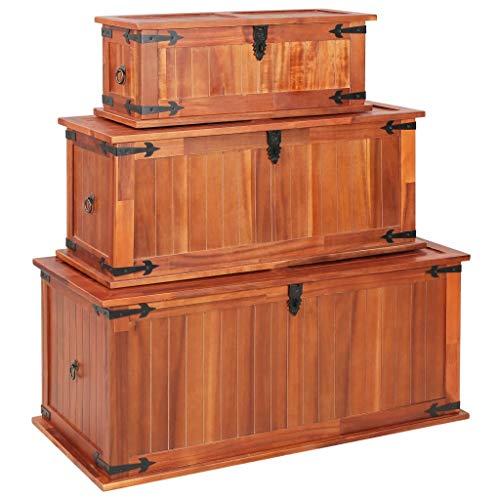Festnjght Aufbewahrungstruhe 3 STK.   Vintage Holztruhe   Retro Schatzkiste   Holz Spielzeugkiste   Aufbewahrungsbox   Braun Massives Akazienholz