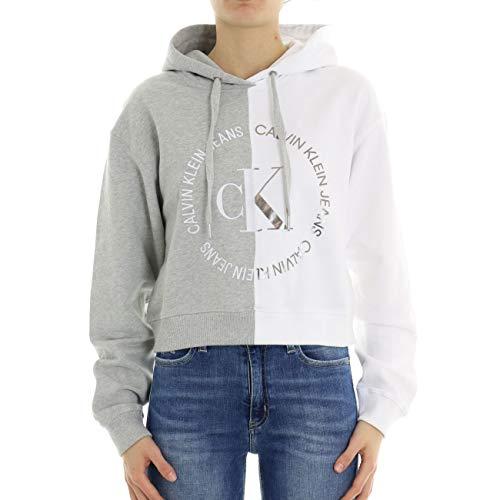 Calvin Klein Jeans Damen Sweatshirt Round CK Blocked hellgrau S