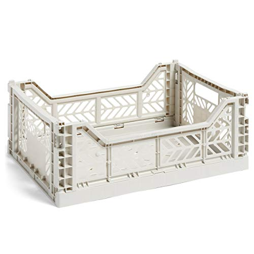 HAY Colour Crate M, Transportbox, 507671, Hellgrau/Polypropylen/Faltbar, Höhe: 14,5 cm, Tiefe: 30 cm, Länge: 40 cm