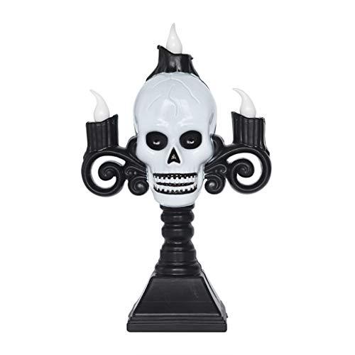 N/A. Portavelas con cabeza de fantasma de calavera para mesas, portavelas para decorar la sala de estar, accesorios para el hogar, decoración temática de Halloween