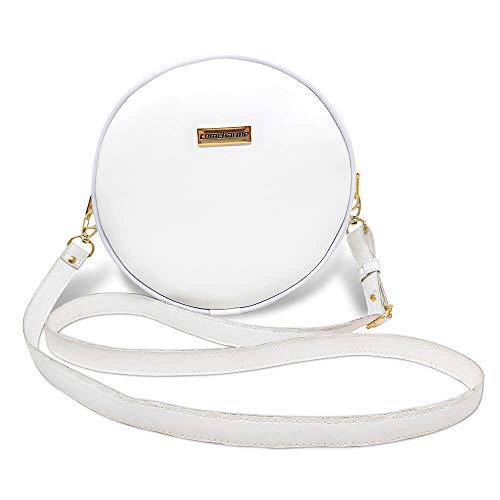 Bolsa Redonda Feminina Lisa Couro Eco Mini Bag Transversal Cor:Branco