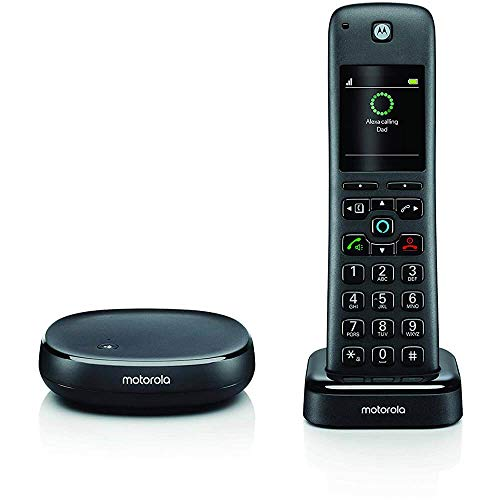 Motorola AXH01 - Téléphone d'intérieur sans Fil avec Alexa - Noir