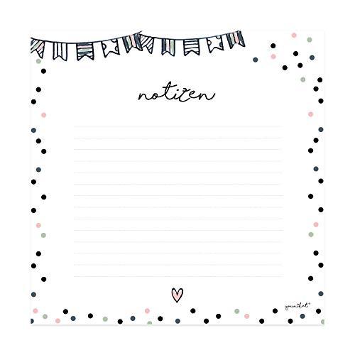 Mauspad Notizblock mit Konfetti Motiv I 21x 21 cm I aus Papier, 50 Blatt I Mousepad und Schreib-Block für Notizen in Einem I dv_471