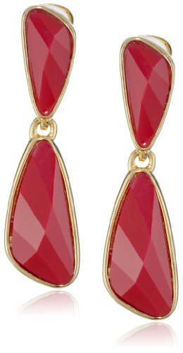Kenneth Jay Lane Gold-Plated Faceted Resin Clip-On Drop Earrings