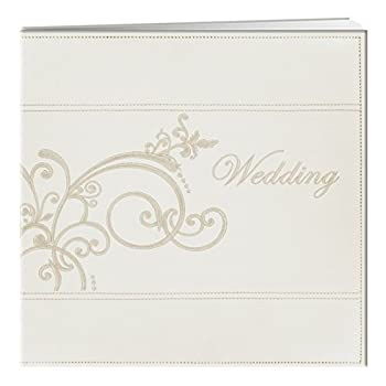 Pioneer 12-Inch by 12-Inch Postbound Embroidered Scroll and Wedding Sewn Leatherette Cover Memory Book Ivory