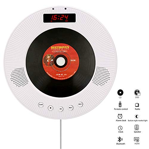 Personal CD Player with Headphones, Support Memory LED Backlit Display AUX Wall-Mounted CD Player Best Choice for Car & Kids & Adults,White