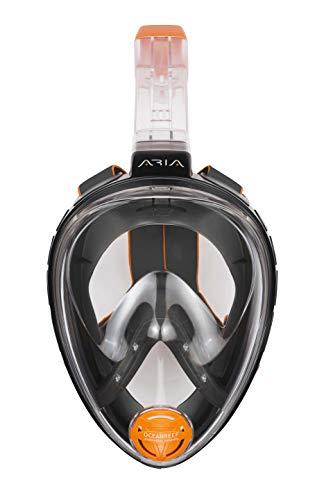 OCEAN REEF - Aria Classic Máscara de Snorkeling - Máscara de Snorkel Integral con Tubo - Negro - Talla S/M