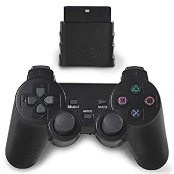 OUBLANC Wireless Controller PS2 2.4G Dual Vibration Game Controller Gamepad Remote for Sony Playstation 2/PS2  1 Pack Jet Black