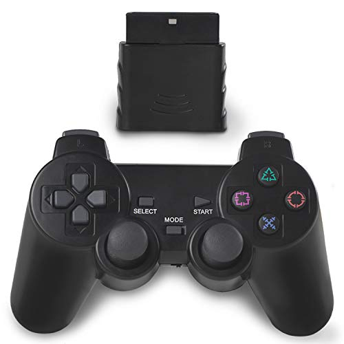 OUBLANC Wireless Controller PS2, 2.4G Dual Vibration Game Controller Gamepad Remote for Sony Playstation 2/PS2 (1 Pack Jet Black)