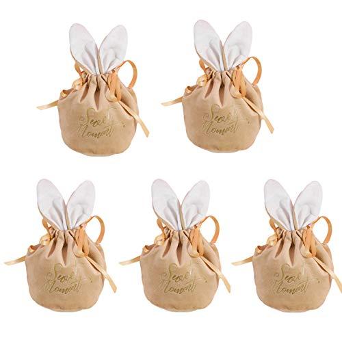Osterhasen Geschenktüten Set 5 Stück Süssigkeiten Beutel Süße Partytüte Hasen Ohr Tüten Süßigkeiten Kekse Und Geschenke,Tüten Kindergeburtstag Mitgebsel,Zubehör