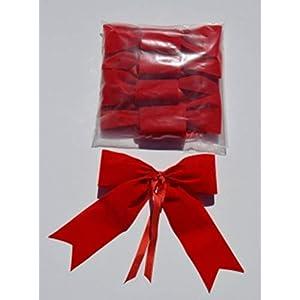 4+1gratis – 5x kleine rote wetterfeste Schleife Aussendekoration, Advent, Weihnachten, Jubiläum