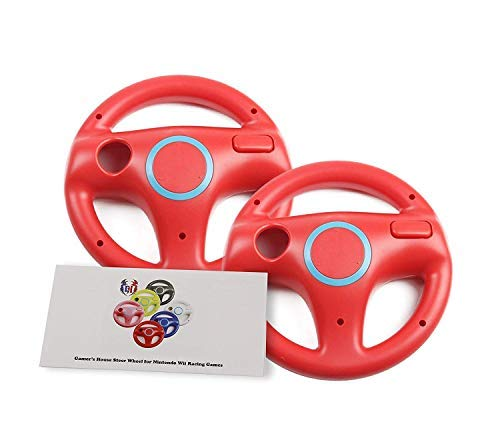 GH 2 Pack Mario Cart 8 Wheel for Nintendo Wii, Driving Wheel for Wii (U) Remote Plus Controller, Volante Wii - Mario Red (6 Colors Available)