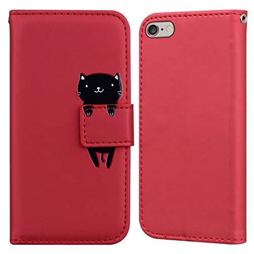 LUCASI Coque iPhone 6,Coque iPhone 6S,Housse en Cuir 3D Lapin Dessin Animé,Portefeuille Etui en Protecion pour iPhone 6/6S, Rouge