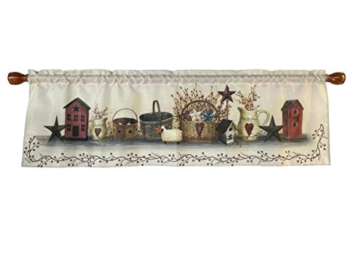 Window Curtain Valance Rod Pocket 58 X 18 Inches (Country Stars)