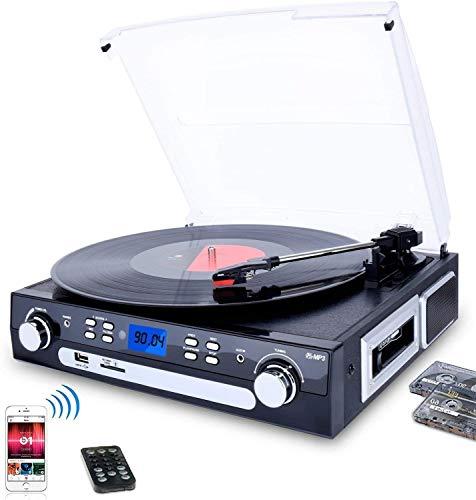 DIGITNOW! Plattenspieler Schallplattenspieler mit Stereo Lautsprechern ,Stützen Bluetooth | Kassette |AM / FM Radio| Vinyl to MP3 USB-Codierung | 33/45/78 U/min | Aux in