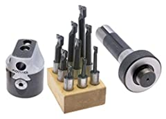 "Our Part # ALL-48106 Kit includes 2"" boring head, R8 shank, & 9 piece C6 carbide tipped boring bar set 2"" Boring head features: 0.001"" gradiuation, 5/8"" max offset, up to 1/2"" tool capacity, bar holder moves freely & smoothly, rigid design for precis..."