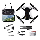 WHWYY Drone for Kids & Beginners FPV RC Drone with 480P HD Wi-Fi Camera Foldable Quadcopter Drone with Altitude Hold/Headless Mode/Foldable Arms/Track Flight/One Key take Off/Landing Black