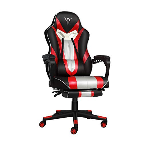 Video Gaming Chair Racing Office - Reclining PU Leather High Back Ergonomic Adjustable Swivel Executive Computer Desk Large Size Footrest,Lumbar Cushion,Adjustable arms Cushion