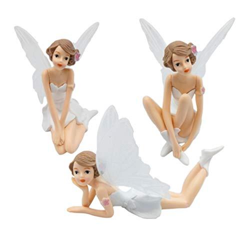 Amosfun Fairy Cake Topper Angel Cupcake decoración Hada de Flores con Miniatura de ala para Adorno de Escritorio de Coche 3 Piezas