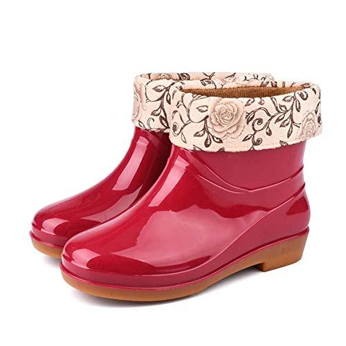 MARLU Regenstiefel Damen Kurz Thermostiefel Galoschen PVC, für Car Wash Schuhe Legere Gehen,Rot,38