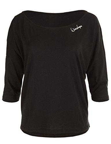 WINSHAPE Damen Dance Style, Fitness Freizeit Sport Yoga Workout 3/4-arm Shirt, Schwarz, M