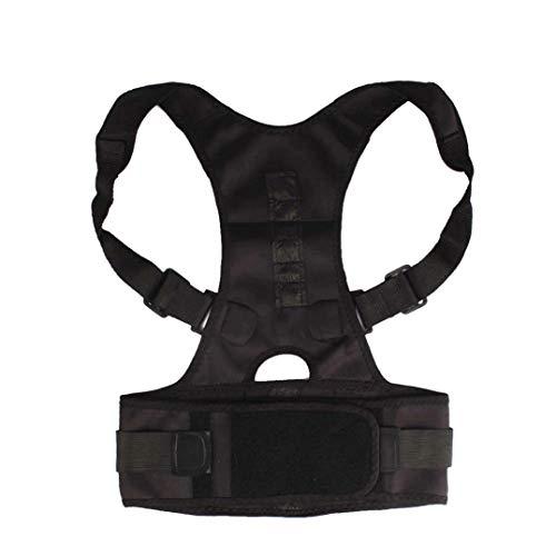 Corrector de postura magnético ajustable para adultos y niños, cinturón de apoyo ortopédico para el hombro, color negro