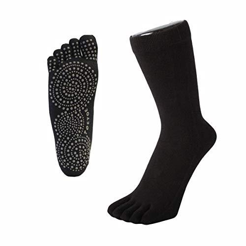 Toetoe – Yoga et Pilates – Semelle antidérapante – Chaussettes à Orteils (UK 6–8.5 | EU 40–43, Noir)