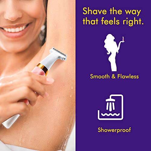 Electric Shaver for Women - Womens Razors Bikini Trimmer Body Hair Removal for Women's Lips Underarms Arm Area Wet and Dry Painless with 4 Trimming Combs