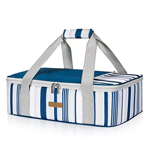 LUNCIA Insulated Casserole Carrier for Hot or Cold Food, Lasagna Lugger Tote for Potluck Parties/Picnic/Cookouts, Fits 9'x13' Baking Dish, Blue