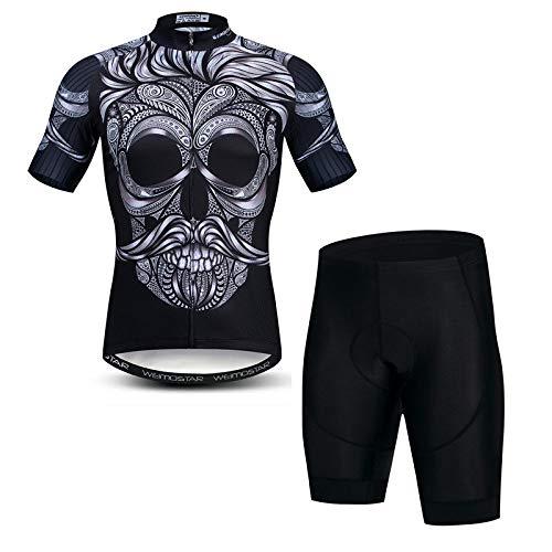Abbigliamento Ciclismo Da Uomo,Set Di Pantaloncini Da Ciclismo 3D Per Bici Da Uomo Per Esterno Strada Da Montagna Mountain Stampa Teschio Nero Tuta Da Ciclismo Completo, Asciugatura Rapida / Traspira