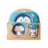 ZumZup Unisex Kinder Baby Geschirr-Set 5-teiliges Kindergeschirr-Set aus Bambus-Geschirr Kindergeschirrset Cartoon Tier Pinguin