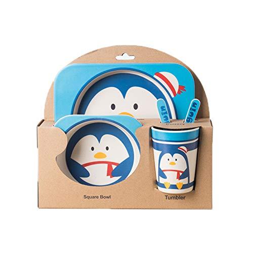 WSLCN Kinder Kindergeschirr-Set 5-teiliges aus Bambus-Geschirr Kindergeschirrset Pinguin Blau