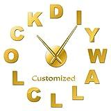 Leeypltm Reloj de Pared Retro Grande,Personalizó su Nombre 47 Pulgadas de Oro DIY Reloj de Pared sin Marco Espejo Grande 3D Sticker para Decorar La Oficina o Casa
