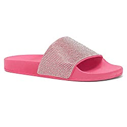 Rhinestone Glitter Fuchsia Slide Slip On Mules Summer Shoe