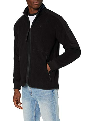 G-STAR RAW Mens Tech Fleece Zip Thru Cardigan Sweater, dk Black C473-6484, Large