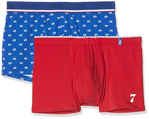 Dim Boxer Cup X2, Multicolor (Rouge Topaze/Imprime COQ 96q), Large (Talla del Fabricante: 4) (Pack de 2) para Hombre
