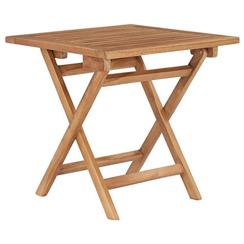 vidaXL Solid Teak Wood Folding Garden Table Weather Resistant Stable Durable Outdoor Patio Deck Foldable Bistro Side Table Furniture 45x45x45cm