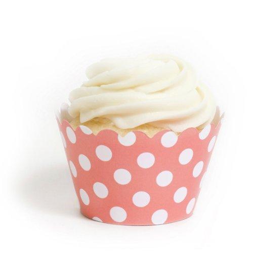 Dress My Cupcake Coral Polka Dot Cupcake Wrappers, Set of 12