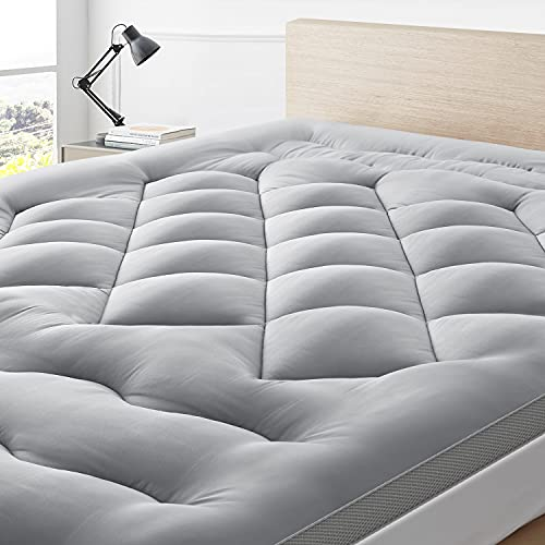 BedStory Mattress Topper Pillow Top, King Size Down Alternative Bed Toppers, Hotel Quality Mattress Pad with Ultra Soft Fiber Fills & Corner Straps