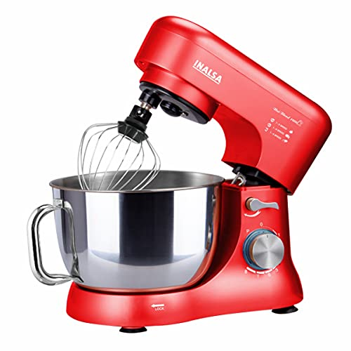 Inalsa Stand Mixer Uni Blend 1000-1000W | 100% Pure Copper Motor| 5L SS Bowl| 8 Speed Control| Tilt Head| Includes Whisking Cone, Mixing Beater & Dough Hook| 2 Years Warranty, (Red)