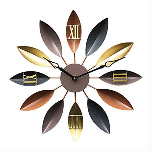 Reloj Sala de Estar,Mesa Decorativa Minimalista de Hierro Forjado,Hoja Vintage Creativa