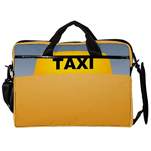 Taxi Minimal Laptop Case Shoulder Bag for Notebook Computer Tablet with Adjustable Shoulder Strap Canvas Messenger Carrying Briefcase Handbag Sleeve for Woman,Man 15x11x1inch