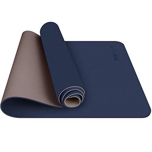 TOPLUS Tappetino da Yoga, Tappetino da Yoga Imbottito e Antiscivolo Fitness Pilates e Ginnastica con Cinturino di TPE,180 x 60 cm (Blu Navy)