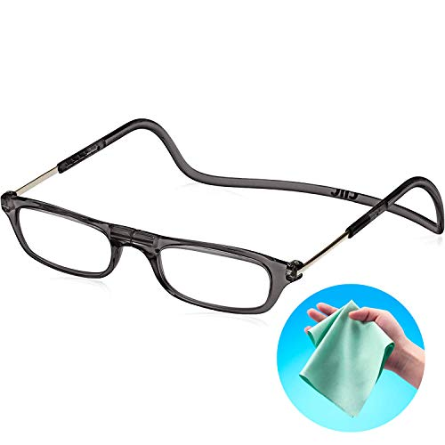 Clic Readers (クリックリーダー) リーディンググラス 老眼鏡 + 東レ トレシー クリーニングクロス セット (ブラック,+2.00)