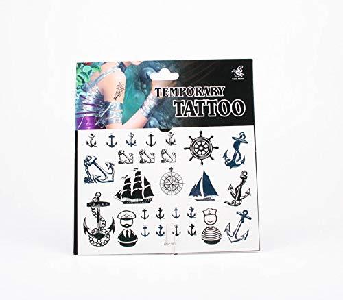 *Tattoos Anker, Schiffe, Kompassstern, Schiffssteuerrad, Matrose und Kapitän in Blau und Schwarz 001-00056