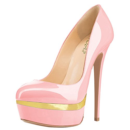 AOOAR Damen Plateau Stiletto Abendschuhe Pink und Gold Lackleder Pumps EU 44